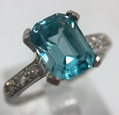 Vintage Emerald Cut Blue Zircon Diamond Shoulders Ring Set In Platinum Band