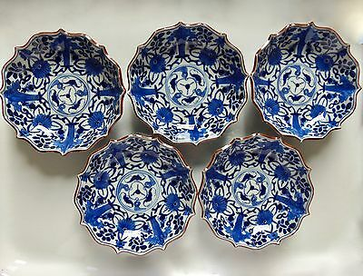 full set antique Arita Japanese blue & white porcelain bowl five ko-sometsuke