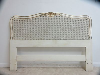 Henredon Vintage French Provincial Carved Cane Full Queen Headboard bed