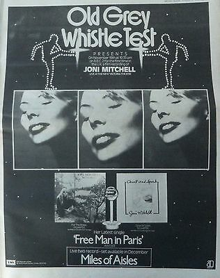 JONI MITCHELL : Old Grey Whistle Test 1974 -Poster Size NEWSPAPER ADVERT-