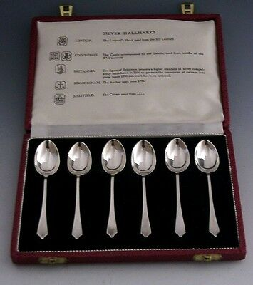 Interesting Cased English Sterling Silver Assay Office Spoons 1966 / 1967