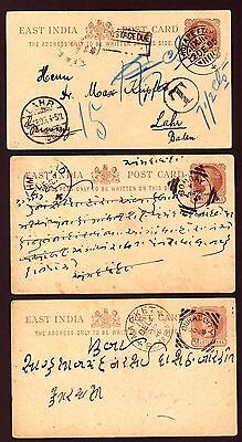 India: (East India) Postal Stationery Post Cards (6) Posted Inland & Europe.