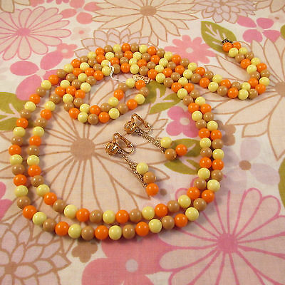 Vintage 1960s Orange, Tan & Yellow Flapper Beaded Necklace & Clip Earring Set
