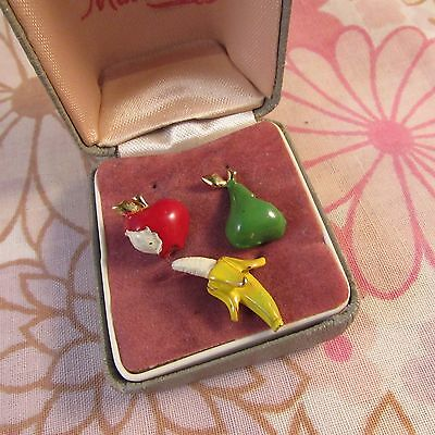 Vintage 1970s Apple, Banana, Pear Scatter Pin Trio on Original Card