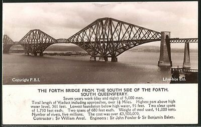 tolle AK South Queensferry, The forth Bridge from the south side of the Forth