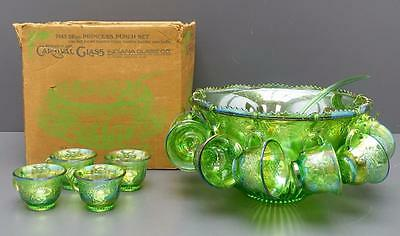 Indiana Glass Princess Punch Set Iridescent Lime Green Carnival  Bowl Cups Ladle