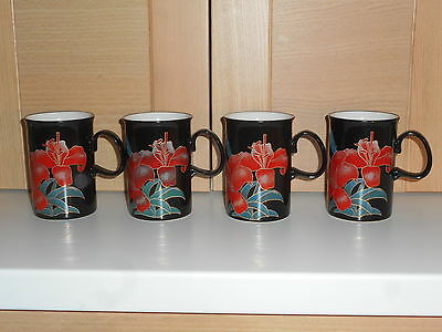Dunoon Scotland Eden By Ruth Boden 4 Lily Red Black & Green Mugs