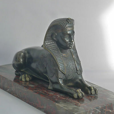 Beautiful Early Bronze Sphinx , French , on a marble base C 1820