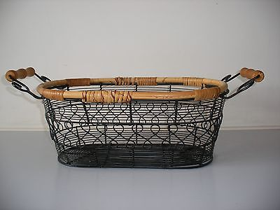 Stunning Vintage Metal And Wicker Shabby Chic Basket
