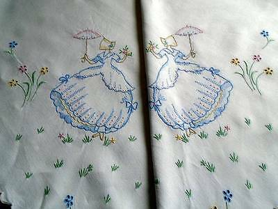 Magnificent Hand Embroidered Lg.linen Tablecloth ~Exquisite Crinoline Ladies~