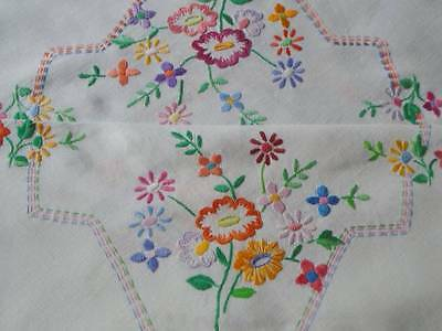 Vintage Hand Embroidered Floral Linen Tablecloth~ Beautiful Coloured Embroidery