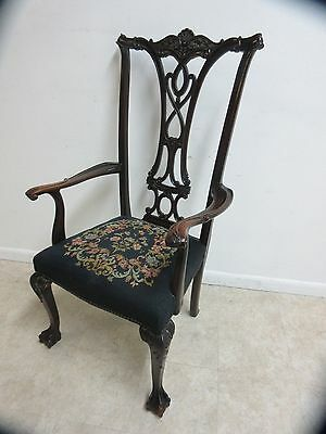 Antique Mahogany Chippendale Ball Claw Needlepoint dining room Throne Arm Chair