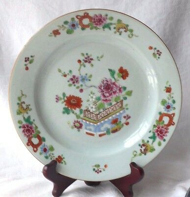 C18Th Chinese Famille Rose Plate With Flowers And A Fence Within A Border