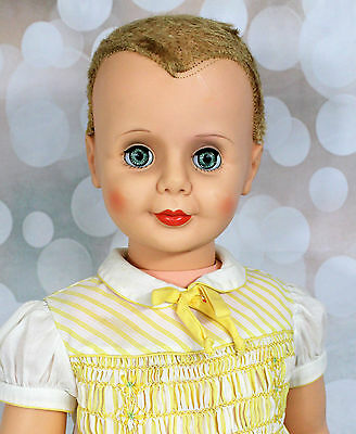 "VIntage 1960s Allied? 35"" Playpal Type Doll TLC Needs ReRoot Cute Face Dress"