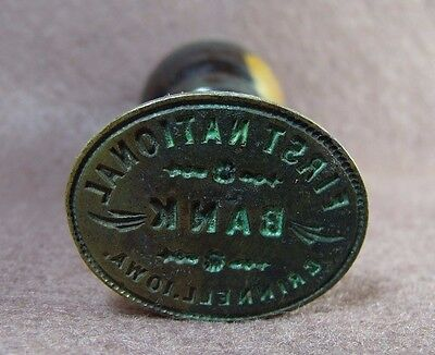 Antique 1860s First National Bank Grinnell Iowa Sealing Wax Stamp Seal