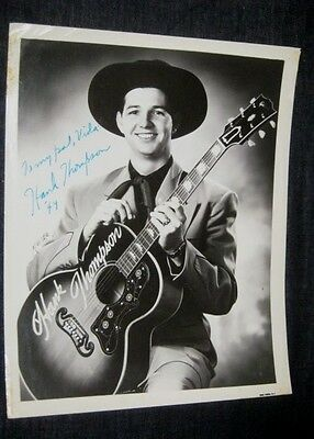 """VINTAGE AUTOGRAPH Signed in person 1949 HANK THOMPSON 8""""x10"""""""