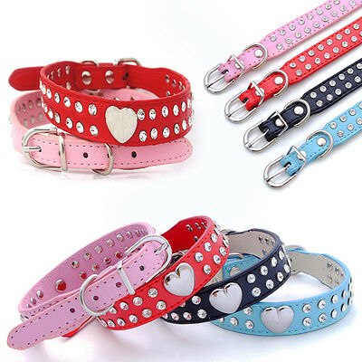 Bling Rhinestone Adjustable PU Leather Pet Puppy Cat Dog Collar Neck Strap