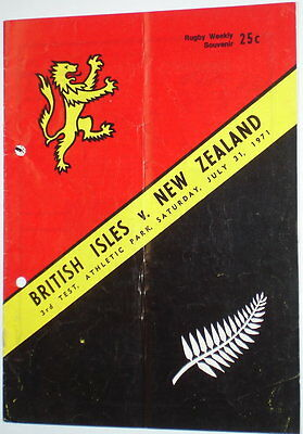British Lions New Zealand Rugby Union Programme 1971 3Rd Test