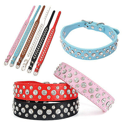 Cute Adjustable Puppy Dog Pet Neck Strap PU Leather Crystal Collar Cat Collar