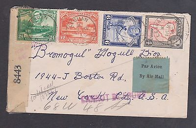1945 British Guiana Censored Air, Lebuan to N.Y 46cts rate / Can not be found