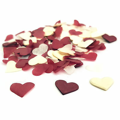 Red & Cream Heart Wedding Confetti ❤ Party Table Decorations ❤ Biodegradable ❤