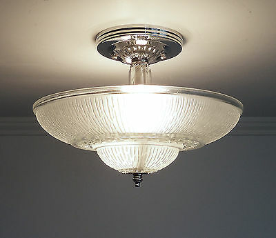 Vintage Art Deco Glass Ceiling Light Fixture Frosted Satin Glass