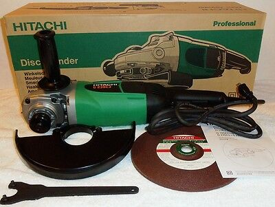 """New Hitachi 9"""" Angle Disc Grinder 6,600RPM 110V w/ Wrench and Disc NIB G23SC3"""