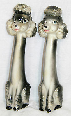 Vintage poodle salt and pepper shakers long neck tall mid century