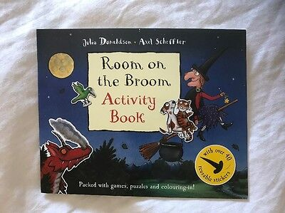 Room On The Broom Sticker Activity Book Colouring A4 Holiday Plane Fun Game