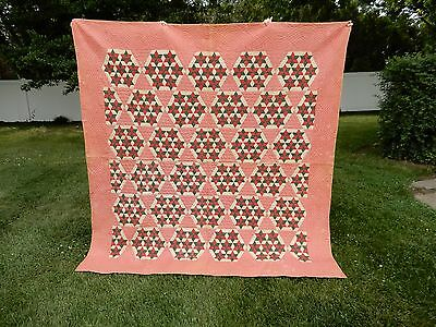 Vtg PATRIOTIC Antique Seven Sisters Pattern Quilt Red White Green Pink 81x84