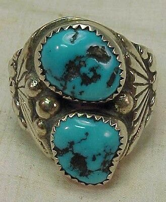 """Vintage Navajo Sterling Silver  TURQUOISE RING  Size 11   1""""  Sharon Cisco"""