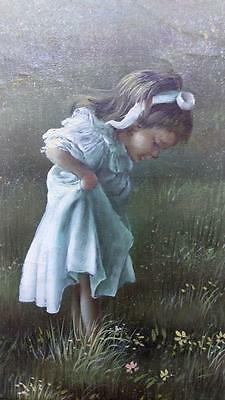 Old Vintage Original Oil Painting Portrait of Young Girl Child on Canvas Framed