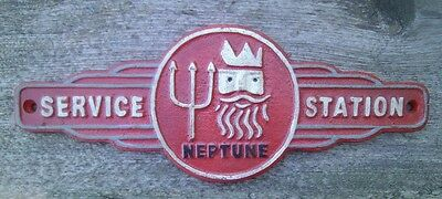 NEPTUNE SERVICE STATION Cast Iron Sign Gas Oil Petroleum DEALER'S SIGN