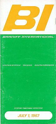 Braniff International Airways July 1, 1967 System Timetable - airlines