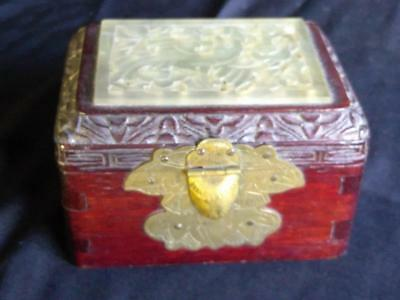 Old Antique Chinese Wood Carved Jade Top Bird Carving Jewelry Trinket Box China