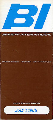 Braniff International Airways July 1, 1968 System Timetable - airlines