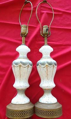 Vintage Old Hand Painted Opaque and Clear Art Glass Lamps Set of Two 2 Retro