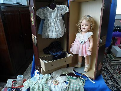 """Shirley Temple 16"""" Composition Doll & Trunk- Some NRA Label Clothes"""