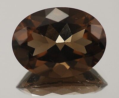 14x10mm OVAL-FACET NATURAL AFRICAN SMOKEY QUARTZ GEMSTONE