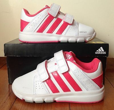 B/n Girl's Genuine Adidas Trainers / Sneakers Size 8.5 Us