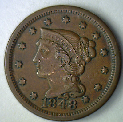 1848 Copper Braided Hair Large Cent US Type Coin XF Extra Fine US Type Coin #R