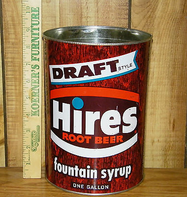 Vintage 1960's HIRES ROOT BEER Draft Style One Gallon Fountain Syrup Tin Can