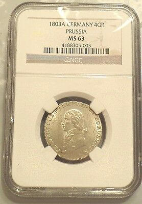 1803-A Germany Prussia 4 Groschen KM#370 High Grade NGC MS-63 FINEST KNOWN WOW!