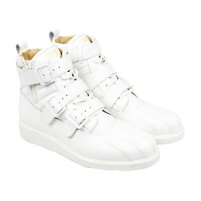 Radii Pentagon Mens White Leather Casual Dress Lace Up Boots Shoes
