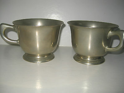 2 Rare Antique P. Tauer's Sohne Austrian Heavy Silver Metalware Large Cups