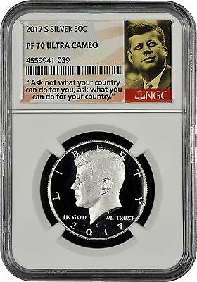 2017 S Silver Kennedy Half Dollar NGC PF70 Ultra Cameo (Portrait, S)