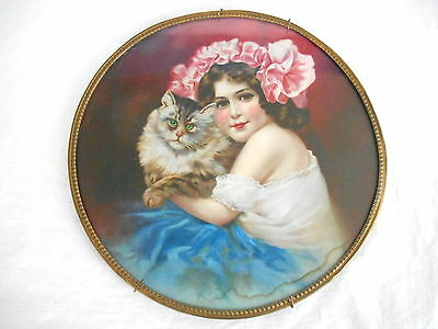 """Antique Victoria GIRL HOLDING CAT FLUE COVER STOVE PIPE Germany 9 1/2"""""""
