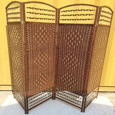 1X Knitted Room Divider 4 Panels Folding Screen furn-rd9