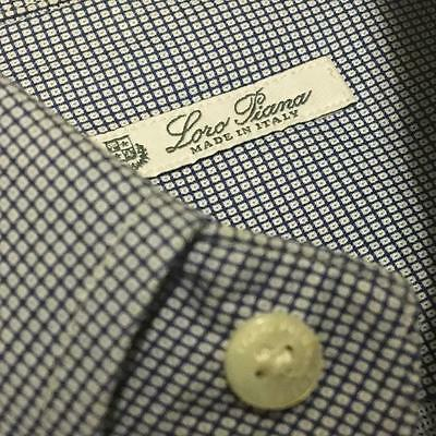 LORO PIANA ITALY Blue & White Birdseye Long Sleeve Button Down Shirt 15 1/2-34""