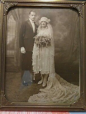Antique Framed  Photograph Wedding photo ORNATE DRESS FLORAL DISPLAY 8x10